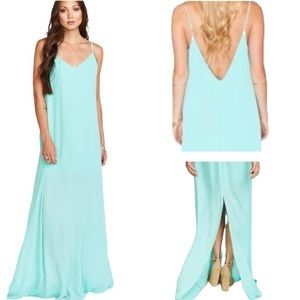 Show Me Your MuMu Jolie Sea Glass Crisp Low Back Maxi Dress - L